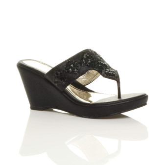 Front right side view of Black High Heel Wedge T-Bar Toe Post Mules Sandals