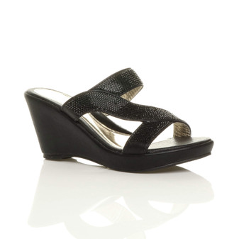 Front right side view of Black High Heel Wedge T-Bar Mules Sandals