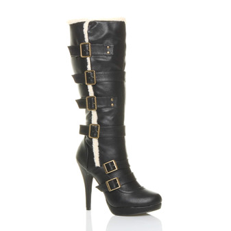Front right side view of Black PU High Heel Aviator Calf Boots