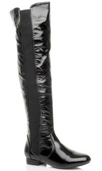Front right side view of Black Patent Low Heel Chelsea Over The Knee Boots