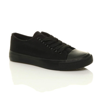 Front right side view of Black Flat Lace Up Canvas Baseball Shoes Plimsolls Trainers