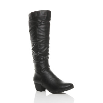 Front right side view of Black PU Mid Heel Ruched Calf Knee Cowboy Boots