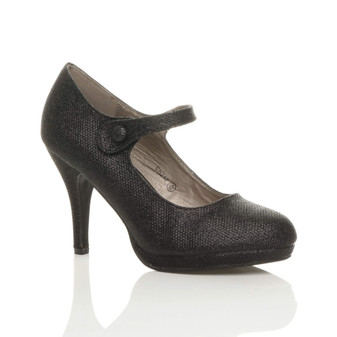 Front right side view of Black Glitter High Heel Platform Mary Jane Court Shoes