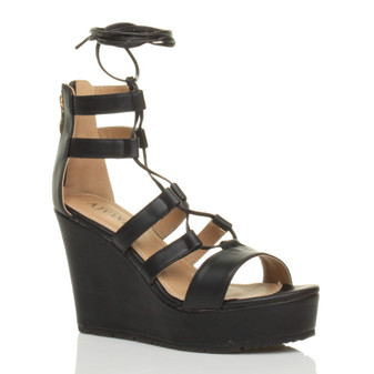Front right side view of Black PU High Heel Wedge Lace Up Ghillie Sandals