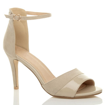 Front right side view of Nude Suede Mid High Heel Contrast Ankle Cuff Sandals