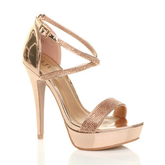 Front right side view of Rose Gold Mirror Rose Gold Diamante PU High Heel Crossed Straps Platform Sandals