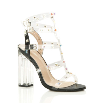 Front right side view of Black High Block Heel Perspex Barely There Studded T-Bar Strappy Sandals