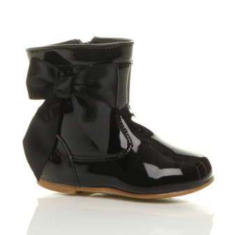 Front right side view of Black Patent Infants Flat Bow Calf Ankle Boots