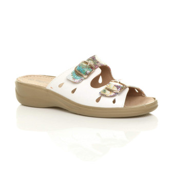 Front right side view of White Floral PU Low Wedge Heel Buckle Strappy Comfort Sandals Mules