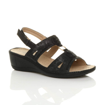Front right side view of Black PU Mid Wedge Heel Diamante Strappy T-Bar Slingback Comfort Sandals