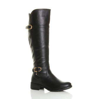 Front right side view of Black PU Low Heel Biker Riding Calf Boots