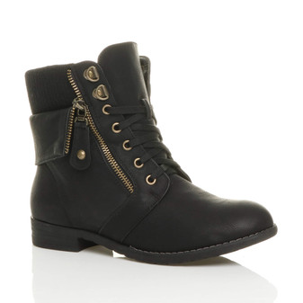 Front right side view of Black PU Low Heel Knitted Collar Military Ankle Boots