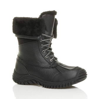Front right side view of Black PU Low Heel Winter Snow Ankle Calf Boots