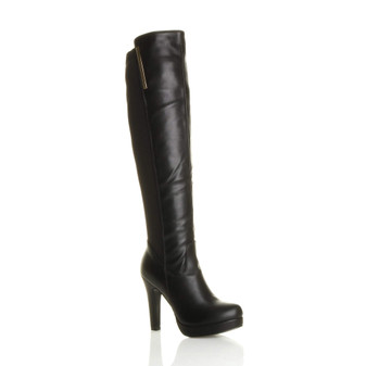 Front right side view of Black PU High Heel Gold Zip Stretch Platform Over Knee Boots