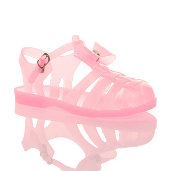 Front right side view of Baby Pink Flat Bow Jelly 90's Sandals