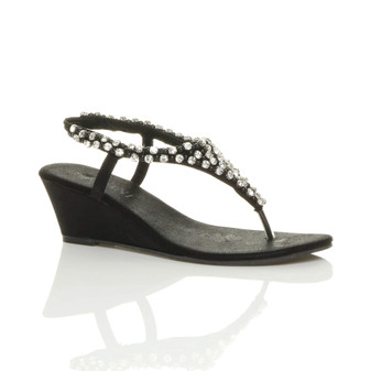 Front right side view of Black Mid Heel Wedge Diamante T-Bar Slingback Sandals