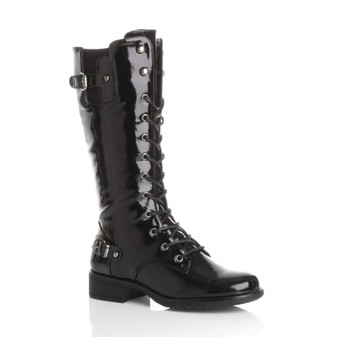 Front right side view of Black Patent Low Heel Biker Military Calf Boots