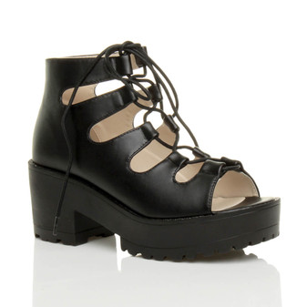 Front right side view of Black PU Mid Block Heel Platform Ghillie Sandals Boots