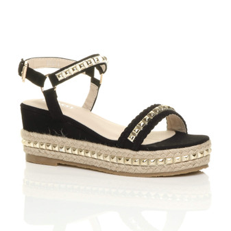 Front right side view of Black PU Mid Wedge Heel Flatform Studded Sandals Platform Espadrilles