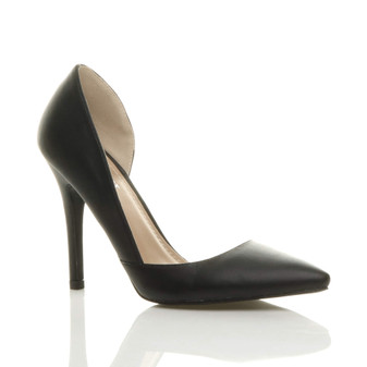 Front right side view of Black PU High Heel d'Orsay Pointed Court Shoes