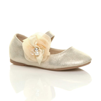 Front right side view of Gold Flat Mary Jane Wedding Bridesmaid Shoes Ballerinas