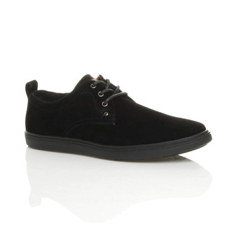 Front right side view of Black Suede Flat Lo-Top Desert Trainers Plimsolls