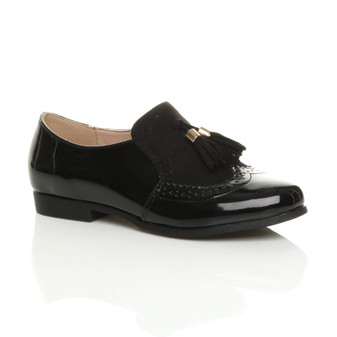 Front right side view of Black Patent Flat Low Heel Tassel Smart Work Shoes Brogues Vintage Style Loafers