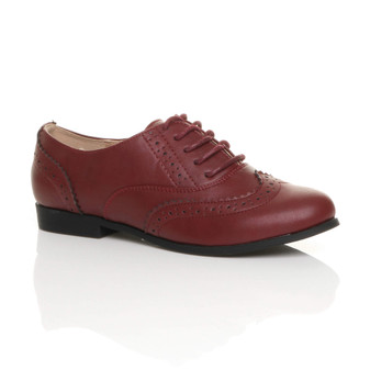 Front right side view of Burgundy PU Flat Lace Up Vintage Style Oxford Shoes Brogues