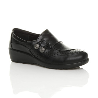Front right side view of Black PU Mid Wedge Heel Button Brogue Comfort Shoes