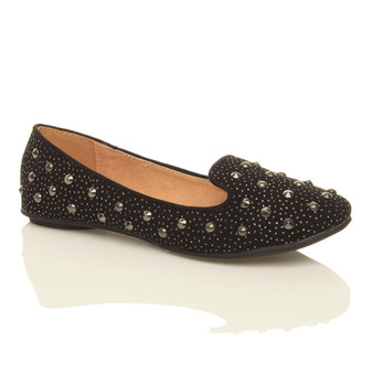 Front right side view of Black Diamond Glitter Flat Studded Loafers Dolly Shoes