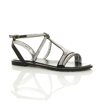 Front right side view of Black Flat Strappy T-Bar Diamante Sandals