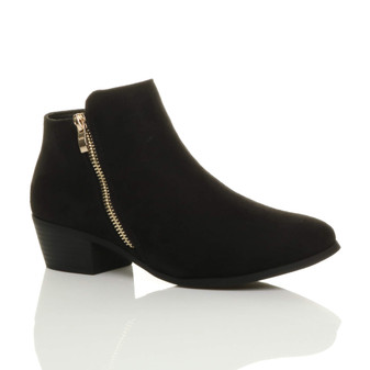Front right side view of Black Suede Mid Heel Gold Zip Ankle Boots