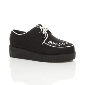 Front right side view of Black / White Suede Low Heel Wedge Platform Brothel Creepers