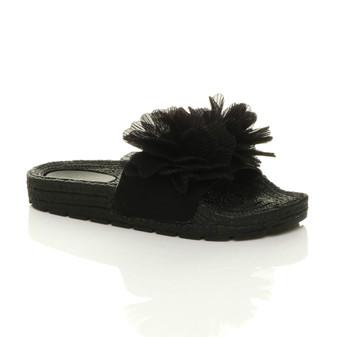 Front right side view of Black Flatform Flower Platform Sandals Sliders Flip Flops