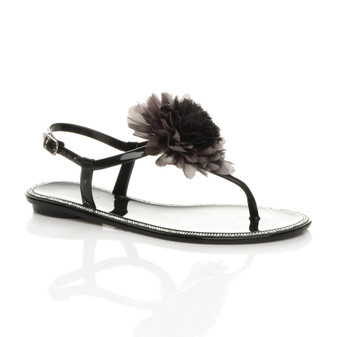 Front right side view of Black Flat Diamante Flower Jelly T-Bar Buckle Beach Sandals