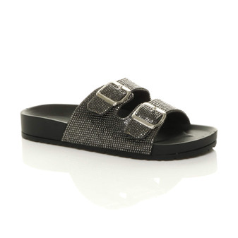 Front right side view of Black PU Flatform Double Buckle Diamante Footbed Sandals Flip Flops Sliders