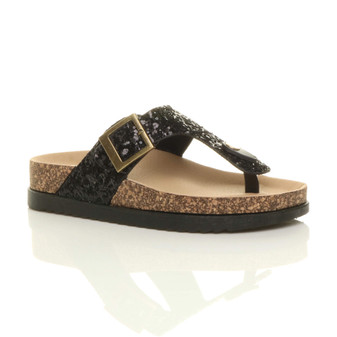 Front right side view of Black Glitter Flat Slip On T-Bar Footbed Sliders Sandals