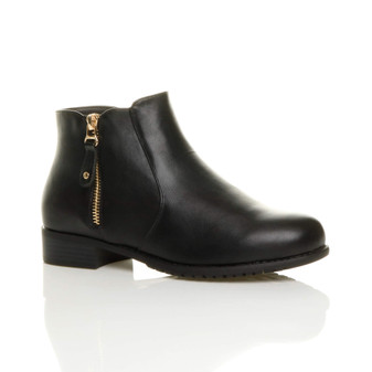 Front right side view of Black PU Low Heel Gold Zip Pixie Smart Ankle Boots