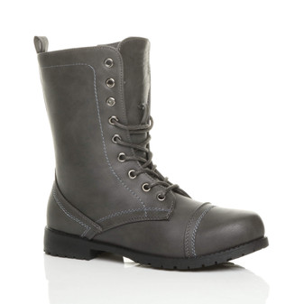 Front right side view of Grey PU Low Heel Military Ankle Boots