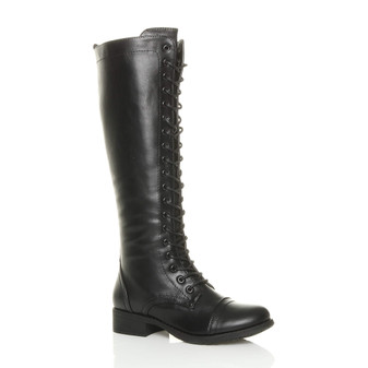 Front right side view of Black PU Low Heel Military Calf Knee Boots