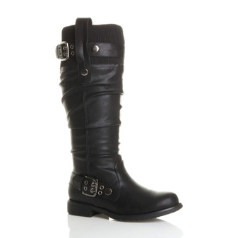 Front right side view of Black PU Low Heel Slouch Knitted Collar Biker Boots