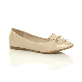 Front right side view of Beige Patent Flat Fringe Tassel Ballerina Dolly Shoes