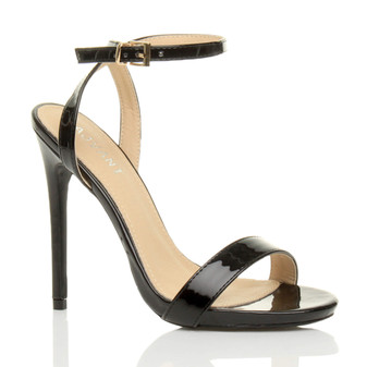 Front right side view of Black Patent High Heel Barely There Strappy Sandals