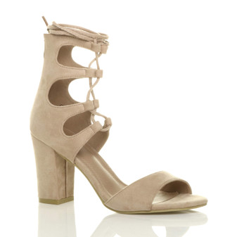 Front right side view of Beige Suede High Heel Ghillie Peep Toe Shoes