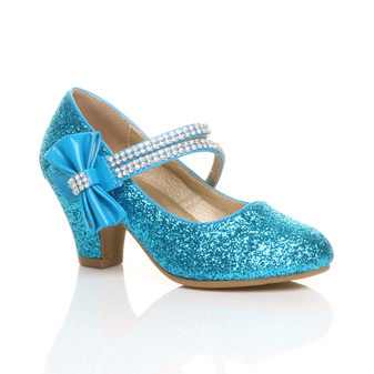 Front right side view of Ice Queen Blue Glitter Mid Heel Mary Jane Diamante Bow Court Shoes