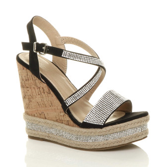 Front right side view of Black Suede High Wedge Heel Diamante Cross Strap Espadrille Cork Platform Sandals