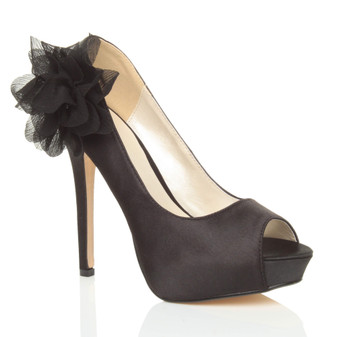 Front right side view of Black Satin High Heel Flower Platform Peep Toe Court Shoes