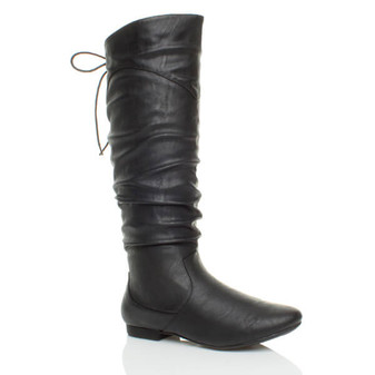 Front right side view of Black PU Flat Lace Up Back Slouch Calf Boots