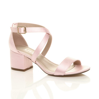 Front right side view of Baby Pink Satin Mid Block Heel Cross Strap Party Strappy Sandals
