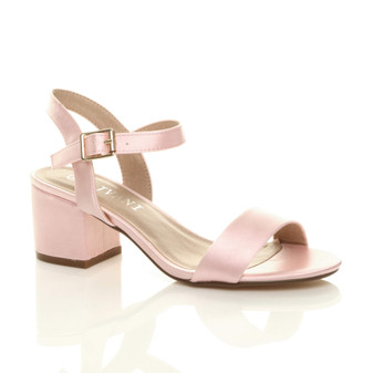 Front right side view of Baby Pink Satin Mid Block Heel Ankle Strap Barely There Sandals
